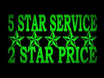 A image depicting All Star's low rates with the slogan 5 star service, two star price.